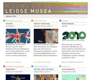 Nieuwsbrief voor museumgroep Leiden